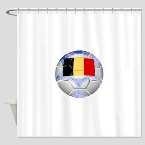 Belgium Soccer Ball Shower Curtain
