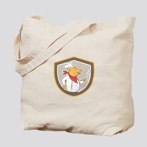 Pig Chef Cook Holding Spatula Shield Cartoon Tote