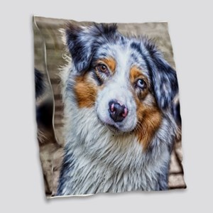 Australian Shepherd Burlap Throw Pillow
