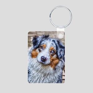 Australian Shepherd Aluminum Photo Keychain
