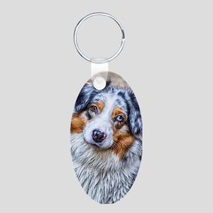 Australian Shepherd Aluminum Oval Keychain