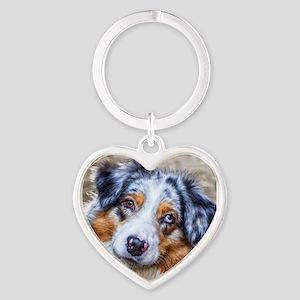 Australian Shepherd Heart Keychain