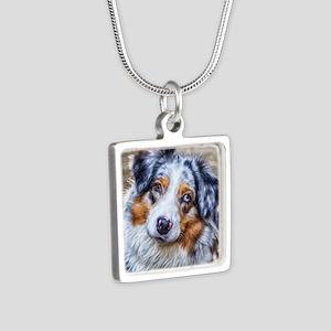 Australian Shepherd Silver Square Necklace