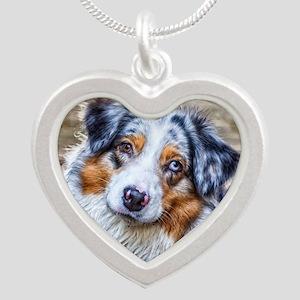 Australian Shepherd Silver Heart Necklace