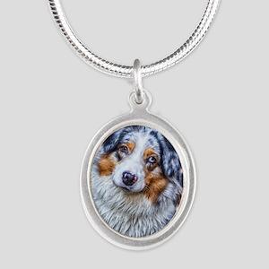 Australian Shepherd Silver Oval Necklace