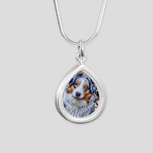 Australian Shepherd Silver Teardrop Necklace