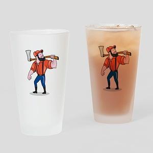 LumberJack Holding Axe Cartoon Drinking Glass