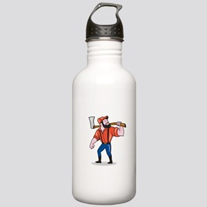 LumberJack Holding Axe Cartoon Water Bottle