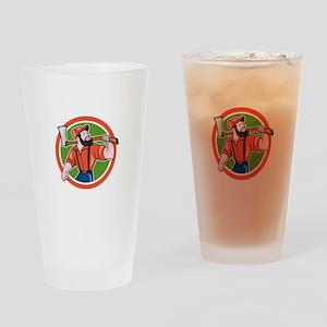 LumberJack Holding Axe Circle Cartoon Drinking Gla