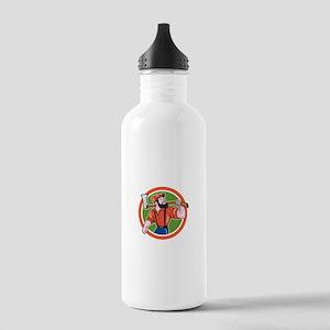 LumberJack Holding Axe Circle Cartoon Water Bottle