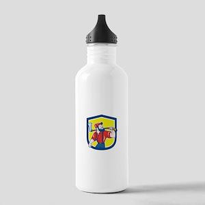 LumberJack Holding Axe Shield Cartoon Water Bottle