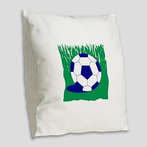 Soccer Ball In Grass Burlap Throw Pillow
