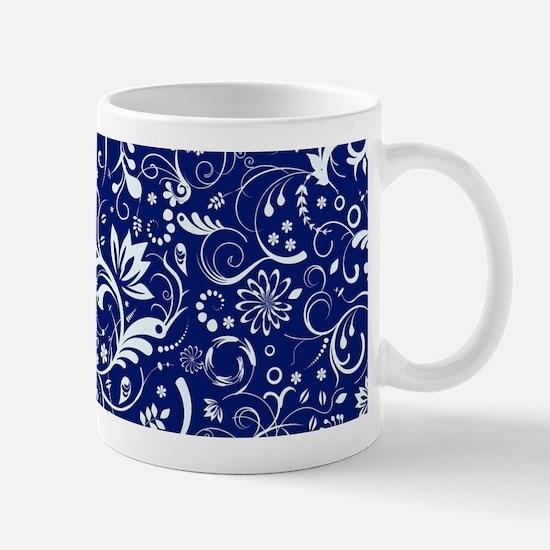Elegant Floral Damasks In White And Blue Mugs