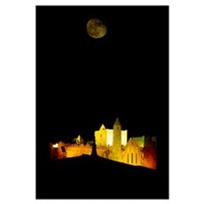 Moon Over Rock Of Cashel, Co Tipperary, Ireland Poster