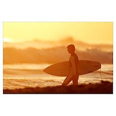 California, San Clemente, Surfer Walking Towards O Poster