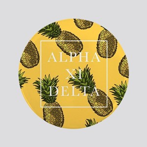 """Alpha Xi Delta Pineapples 3.5"""" Button (100 pack)"""