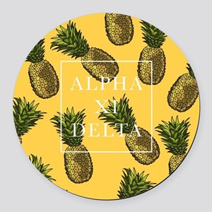 Alpha Xi Delta Pineapples Round Car Magnet