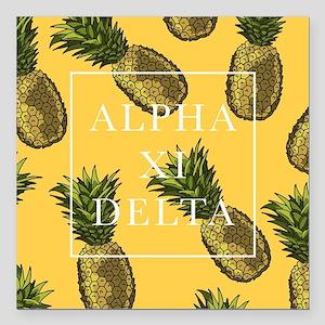 "Alpha Xi Delta Pineapple Square Car Magnet 3"" x 3"""