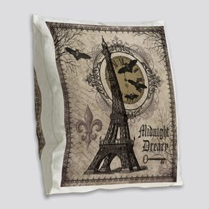 Modern vintage Halloween Eiffel Tower Burlap Throw