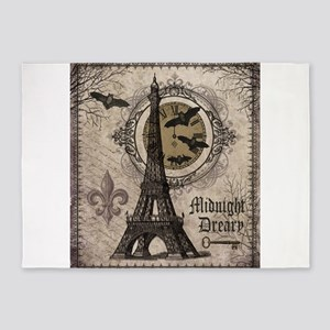 Modern vintage Halloween Eiffel Tower 5'x7'Area Ru