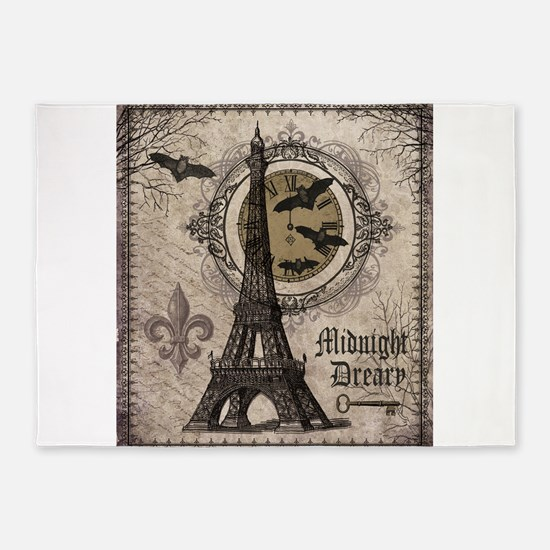 Modern vintage Halloween Eiffel Tower 5'x7'Area Ru
