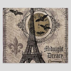 Modern vintage Halloween Eiffel Tower King Duvet