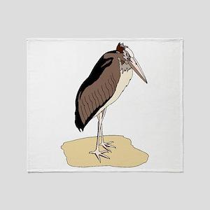 Brown Marabou Stork Throw Blanket