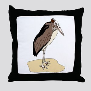 Brown Marabou Stork Throw Pillow
