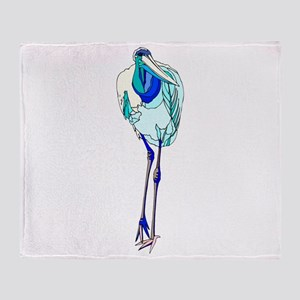 Blue Marabou Stork Throw Blanket