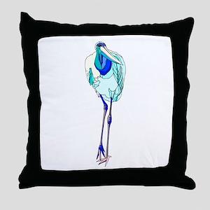 Blue Marabou Stork Throw Pillow