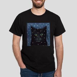Black Cat in Falling Snow Kids T-Shirt