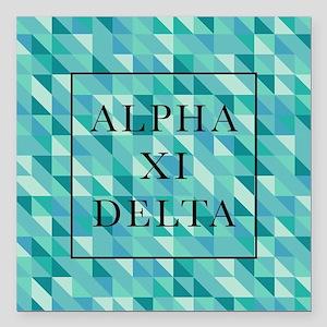 """Alpha Xi Delta Geometric Square Car Magnet 3"""" x 3"""""""