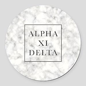 Alpha Xi Delta Marble Round Car Magnet