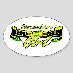 Jamaican girl Oval Sticker