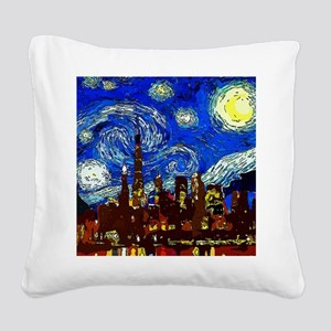 Starry Night Chicago Square Canvas Pillow