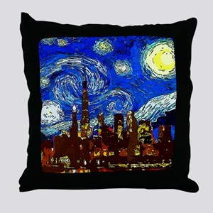 Starry Night Chicago Throw Pillow