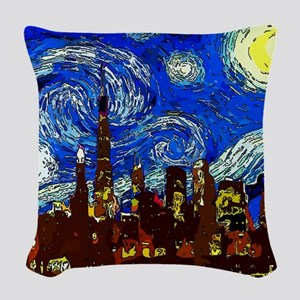 Starry Night Chicago Woven Throw Pillow
