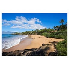 Hawaii, Maui, Makena, Chang's Beach, Blue Sky, Clo Poster