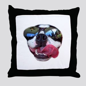 cool boston terrer with sunglasses Throw Pillow