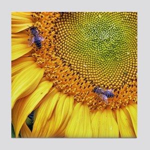 Bees on Sunflower Tile Coaster