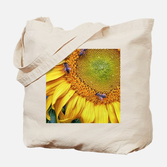 Bees on Sunflower Tote Bag