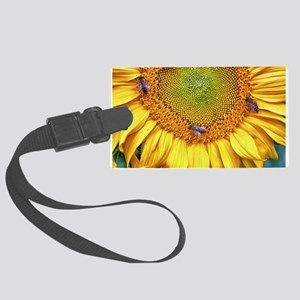 Bees on Sunflower Large Luggage Tag