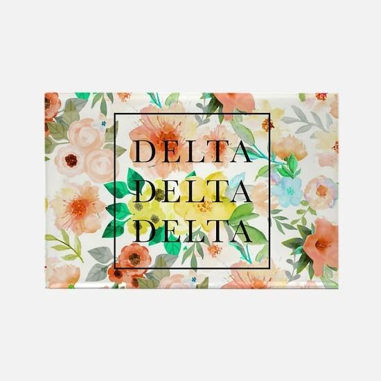 Delta Delta Delta Floral Rectangle Magnet