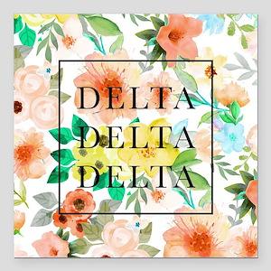 """Delta Delta Delta Floral Square Car Magnet 3"""" x 3"""""""