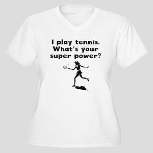I Play Tennis Super Power Plus Size T-Shirt