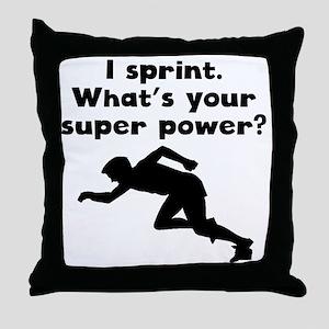 I Sprint Super Power Throw Pillow