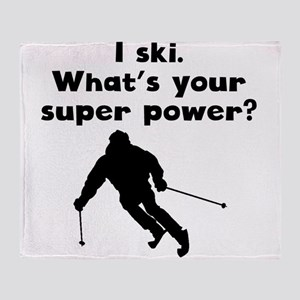 I Ski Super Power Throw Blanket