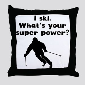 I Ski Super Power Throw Pillow