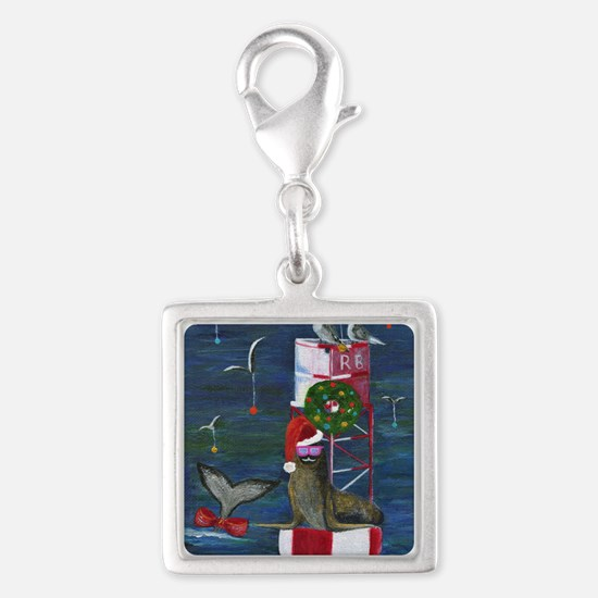 Christmas Seal Silver Square Charm