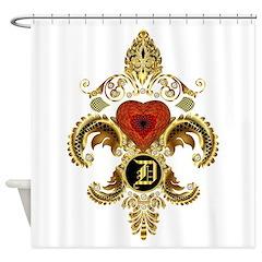 Monogram D Fleur-De-Lis Bf Shower Curtain